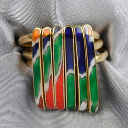 Artist-designed 18kt Gold and Enamel Ring, Piero Dorazio