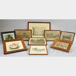 Nine Small Framed 19th Century Prints and Other Items
