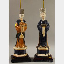 Two Asian Glazed Ceramic Figural Priest/Table Lamps