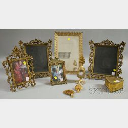 Nine Continental-style Decorative Brass and Gilt-metal Table Frames and Dresser Set