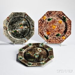Three Staffordshire Tortoiseshell-glazed Creamware Plates