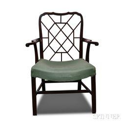 George III Upholstered Mahogany Armchair
