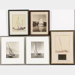 Five Vintage Sailboat Photographs