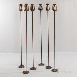 Six Mid-century Modern Bronze Candleholders