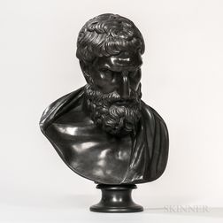 Wedgwood Black Basalt Library Bust of Eurypides