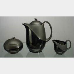 Wedgwood Three Piece Glazed Black Basalt Lunar Coffee Set