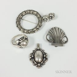 Five Pieces of Georg Jensen Sterling Silver Jewelry
