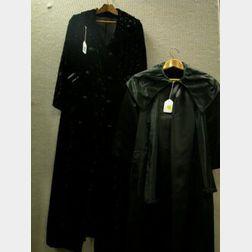 Ladys Black Polka Dot Cut-Velvet Coat, Bergdorf Goodman Black Satin Cape/Jacket, Hardstone and Crystal Necklaces, Beaded and Petit Poi