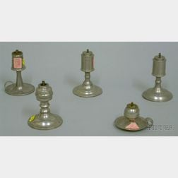 Five Small Pewter Whale Oil Sparking Lamps