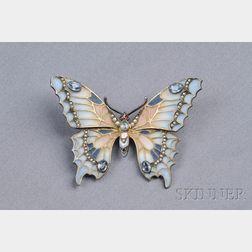 Art Nouveau Sterling Silver, Plique-a-Jour Enamel, and Gem-set Butterfly Pendant/B