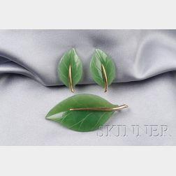 14kt Gold and Nephrite Leaf Suite, Gumps