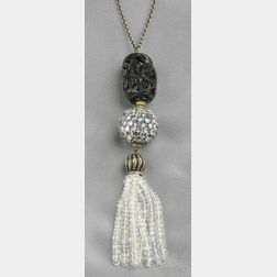 Moonstone, Glass, and Diamond Tassel Necklace