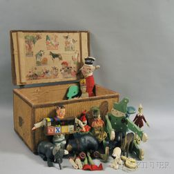 Lift-top Straw Toy Chest with Applied Cloth Elephant and Chickens