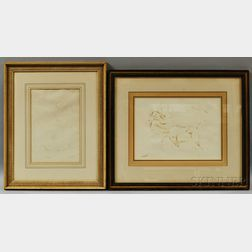 Two Framed Bernard Karfiol (American, 1886-1952) Ink Sketches of Nudes