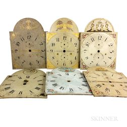 Six Paint-decorated Pine Clock Faces
