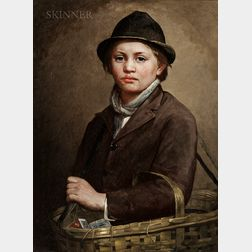 Charles Noel Flagg (American, 1848-1916)      Portrait of a Peddler Boy with a Basket