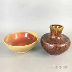 St. Lukas Iridescent Porcelain Bowl and a Pilkington Ceramic Vase