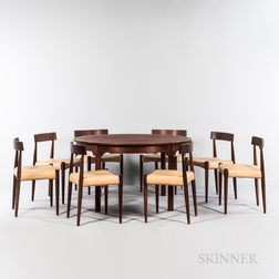 Round to Oval Dining Table and Eight Chairs