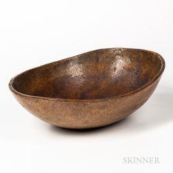 Carved Oblong Burl Bowl