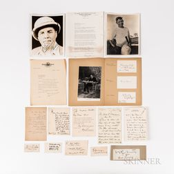 Sixteen Letters and Autographs of Entertainers, Sportsmen, Travelers, and Aviators.