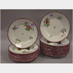 Set of Twenty-six Sarreguemines Strasbourg Pattern Ceramic Plates.