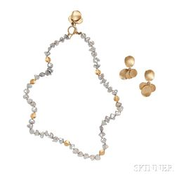 18kt Gold and Keshi Pearl Necklace and Earrings