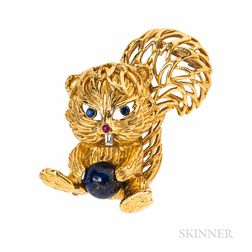Cartier 18kt Gold Gem-set Squirrel Brooch