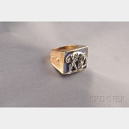 """Artist Designed 14kt Gold, Silver, and Lapis """"Samson and Delilah"""" Ring, Erte"""