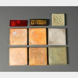 Nine Decorative Art Glass Tiles
