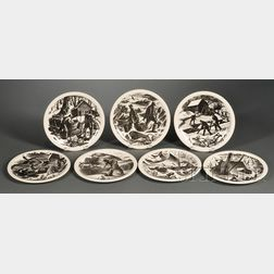 Seven Wedgwood Claire Leighton Decorated Queen's Ware Plates