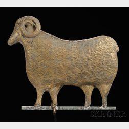 Molded Gilt Copper Ram Weathervane,