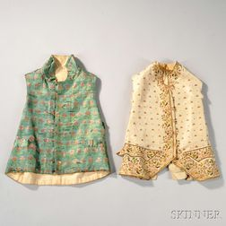 Two Embroidered Silk Waistcoats