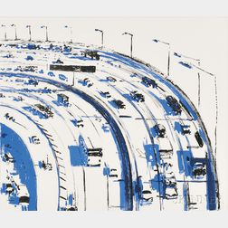 Wayne Thiebaud (American, b. 1920)      Freeway Curve