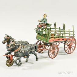 Polychrome Cast Iron Horse-drawer Beer Wagon