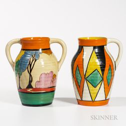 Two Clarice Cliff Pottery Isis Jugs