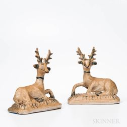 Pair of Glazed and Cobalt Decorated Stoneware Deer