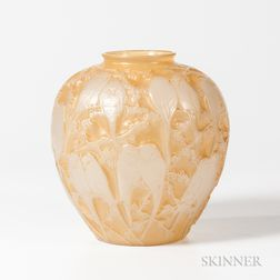 Perruches Art Glass Vase After Lalique