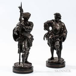 After Albert-Ernest Carrier-Belleuse (French, 1824-1887)       Pair of Bronze Figures of Cavaliers
