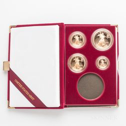 1995 American Gold Eagle 10th Anniversary Four-coin Proof Set.     Estimate $1,500-2,000