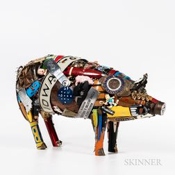 Modern Folk Art Memoryware Pig