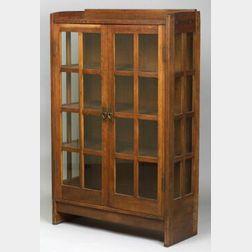 Gustav Stickley Oak Double Door China Cabinet