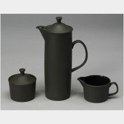 Wedgwood Three Piece Black Basalt Coffee Set