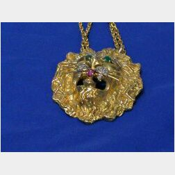 18kt Gold, Diamond, Emerald, and Ruby Pendant