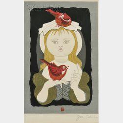 Junichiro Sekino (Japanese, 1914-1988)      Girl with Birds.