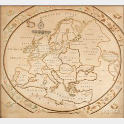 Framed Schoolgirl Embroidered Map of Europe