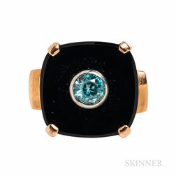 14kt Gold, Blue Zircon, and Onyx Ring