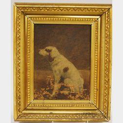 "Framed 19th/20th Century American School Oil on Canvas Portrait of a Dog ""Fay,"""