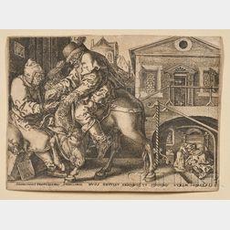 Heinrich Aldegrever (German, 1502-c. 1561)      The Good Samaritan at the Inn