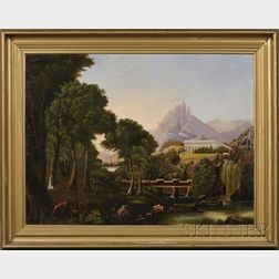 """American School, 19th Century, After Thomas Cole (American, 1801-1848)      Allegorical Landscape """"The Dream of Arcadia."""""""