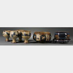 Four Vivika & Otto Heino Stoneware Goblets, Two Bowls, and a Plate